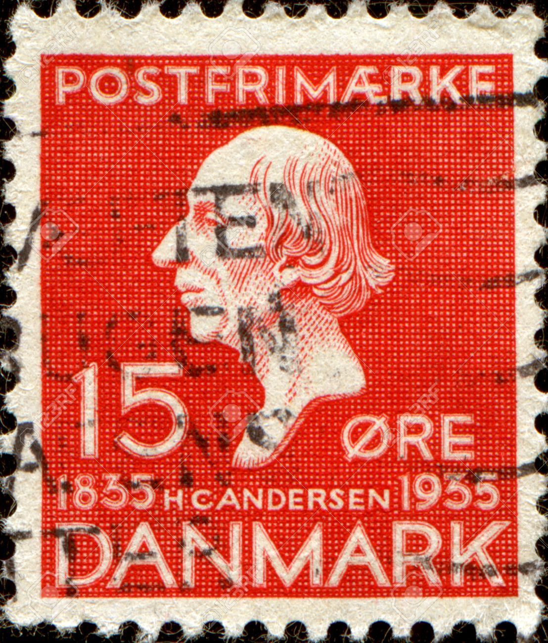 DENMARK - CIRCA 1935 A stamp printed in Denmark shows Hans Christian Andersen, was a Danish author, fairy tale writer, poet, circa 1935 Stock Photo