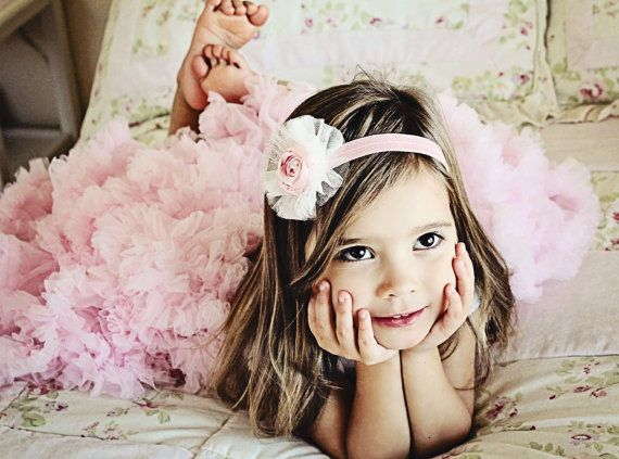 Sweet Petite Pink Rosette Baby Girl Headband by OhhSoSweetBowtique, $14.00