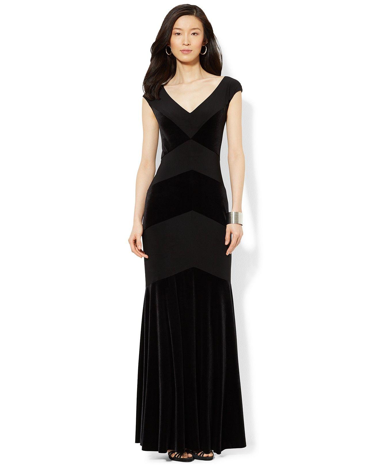 Lauren Ralph Lauren V-Neck Velvet Gown - Dresses - Women - Macy s ... a860b1cb7