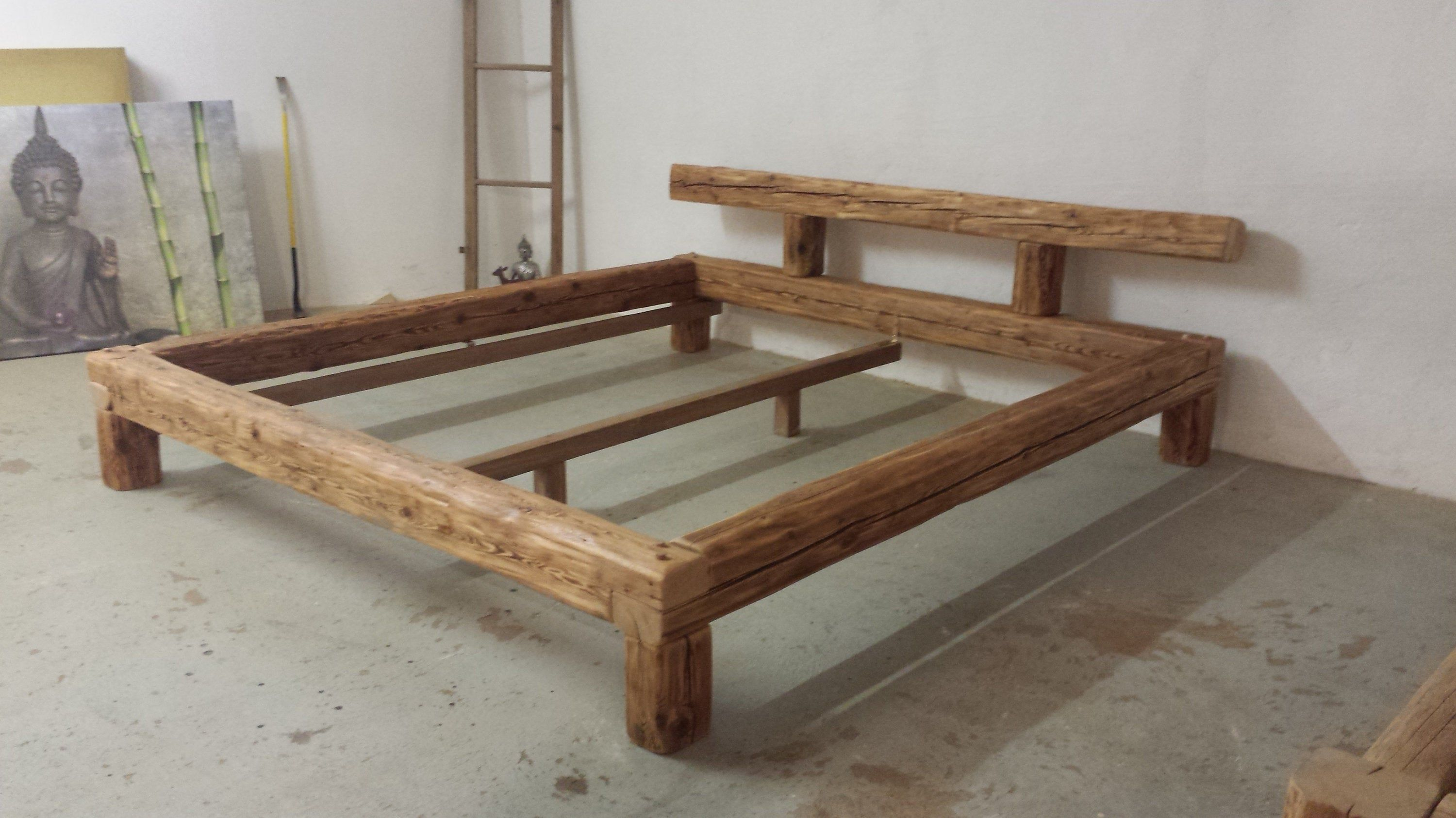 Old Wood Beam Bed 180 X 200 Cm Hand Chopped Wooden Nails Etsy