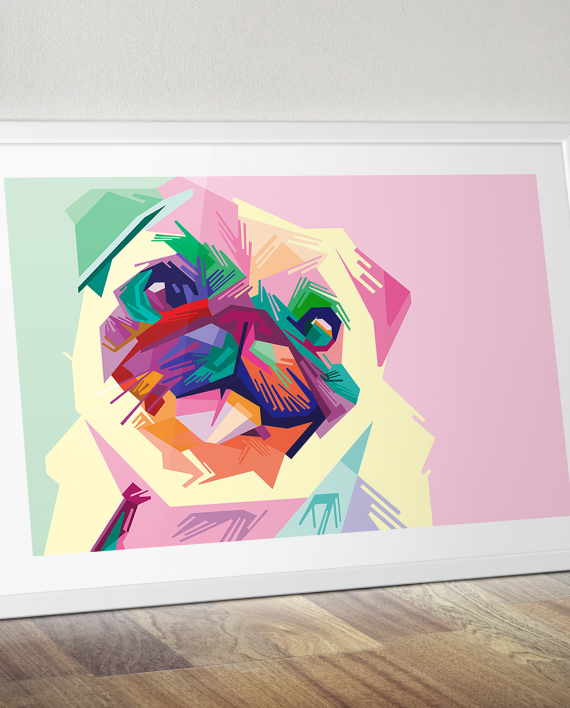 Pug pop art painting pop art painting hand painted on a box canvas frame visit our pop art shop for more pop art canvas prints paintings t shirts and