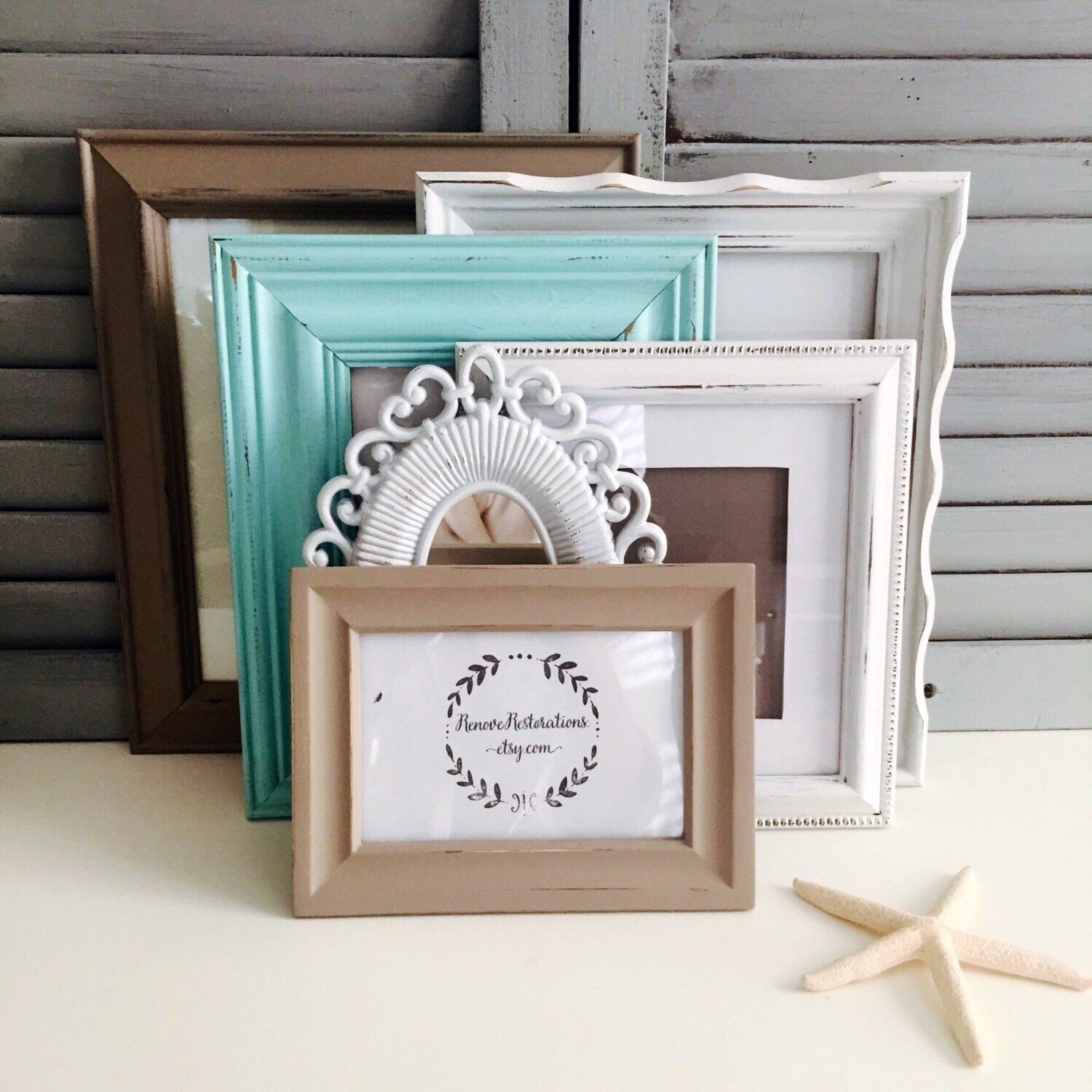 Taupe And Robins Egg Blue Frame Set Six Shabby Chic