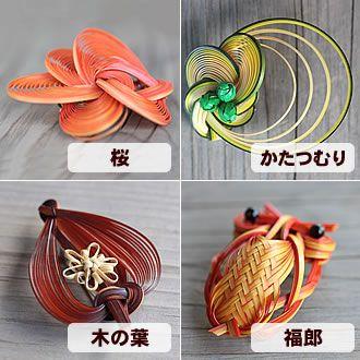 竹ブローチ(桜、かたつむり、木の葉、福郎)