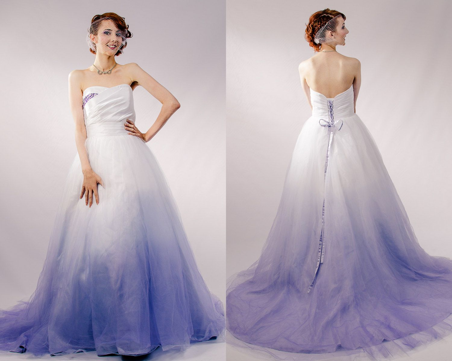 Dip Dyed Wedding Dress Purple Ombre Couture Gown Colored Pink Blue