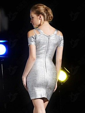 Sexy Short Mini Silver Party Dress Bandage Cocktail Dresses TCD5907