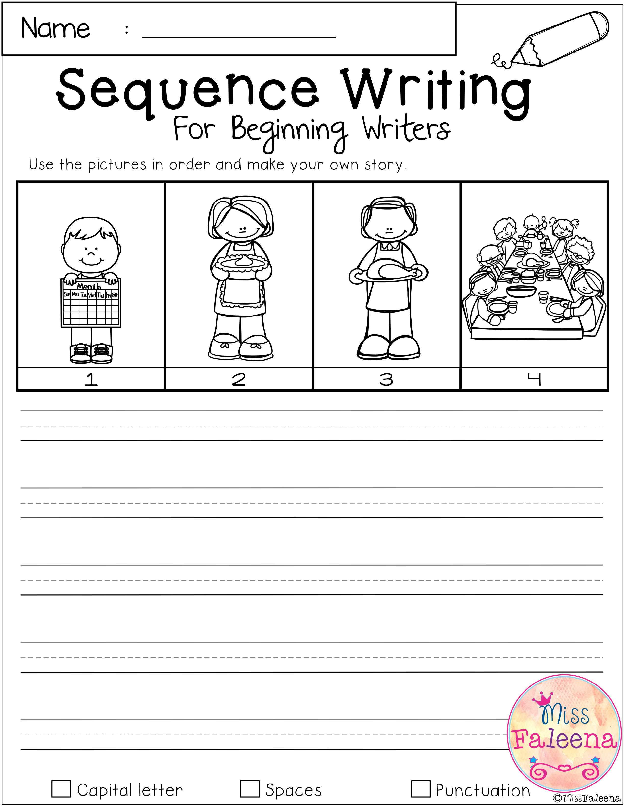November Sequence Writing For Beginning Writers Sequence Writing Kindergarten Writing Lessons Kindergarten Writing Lesson Plans