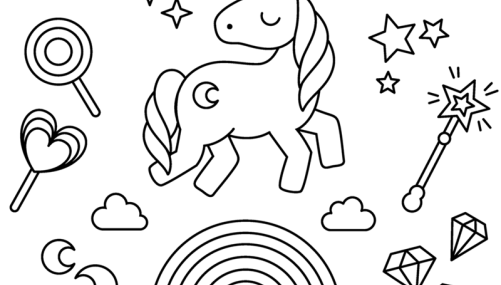 Unicorn With Rainbow Stars And Candy Candy Coloring Pages Star Coloring Pages Unicorn Coloring Pages