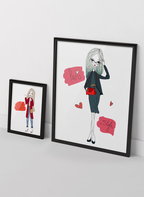 Vector Street Fashion Girl Set 5 Five Vector Printable Fashion