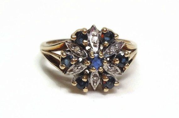 10k Yellow Gold Blue Sapphire Ring With Diamond Accents In Prong Set Edwardian Flower Design Marked Blue Sapphire Rings Sapphire Ring Blue Sapphire