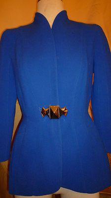 Thierry Mugler paris phenomenal electric blue wool jacket made in france 40
