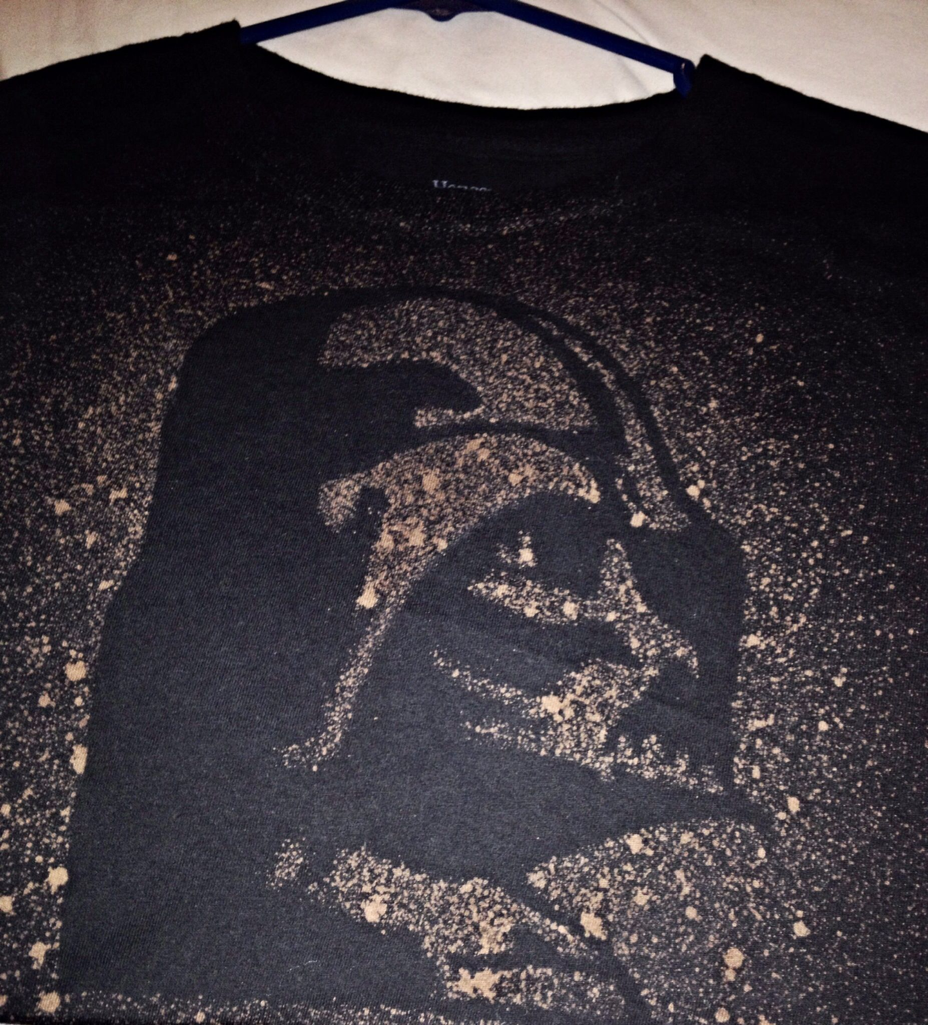 Diy star wars shirt darth vader stencil then spray bleach for Diy disney shirt template