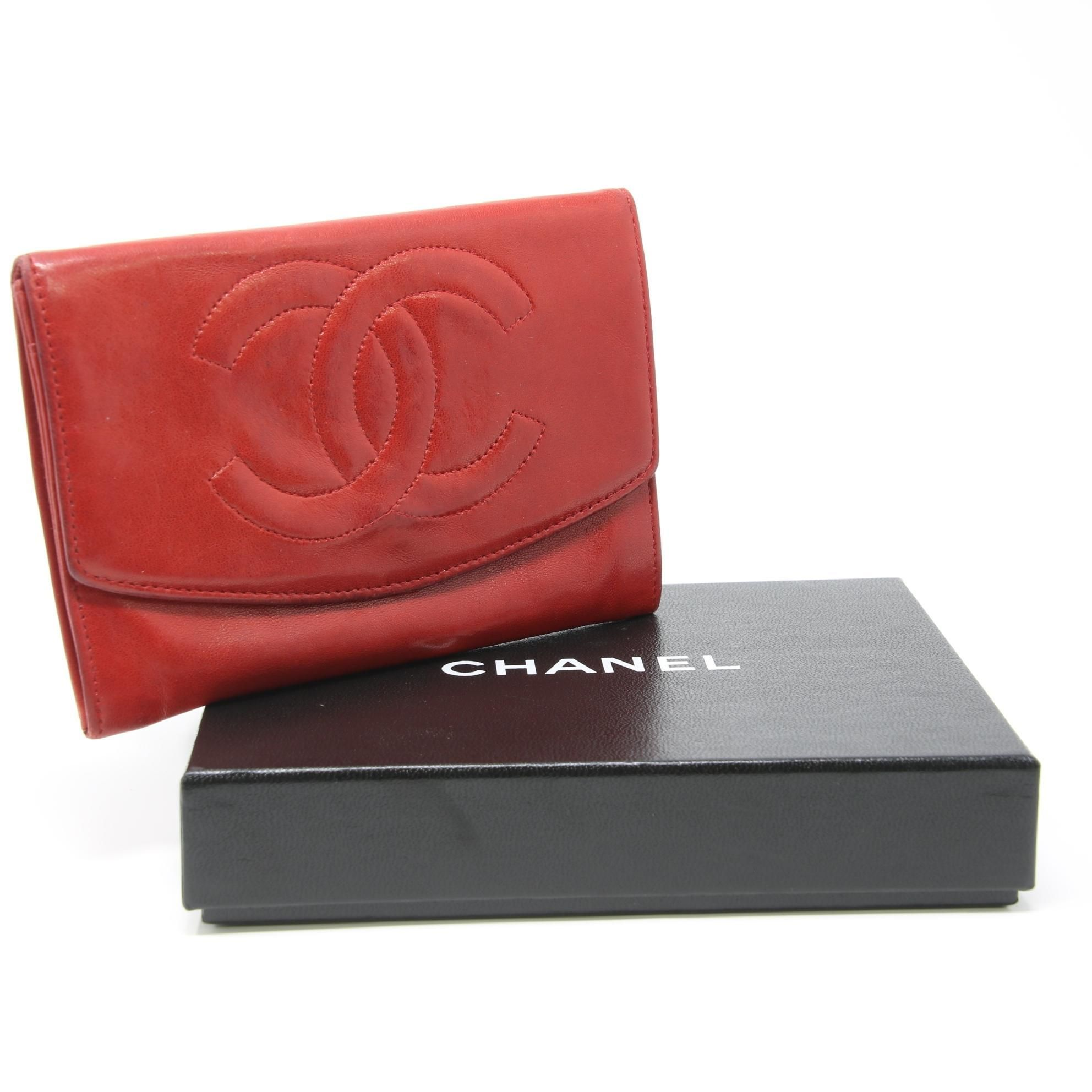 12a7a4d8 Chanel Red Large CC Logo Lambskin Leather Flap Bifold Wallet in 2018 ...