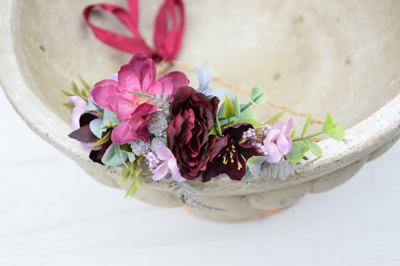 Wianek Na Glowe Kwiatowy Wianek Slubny Wianek Wianek Do Slubu Kwiaty Do Wlosow Romantyczny Wianek Boho Wianek Czerw Flower Crown Marsala Wedding Flowers