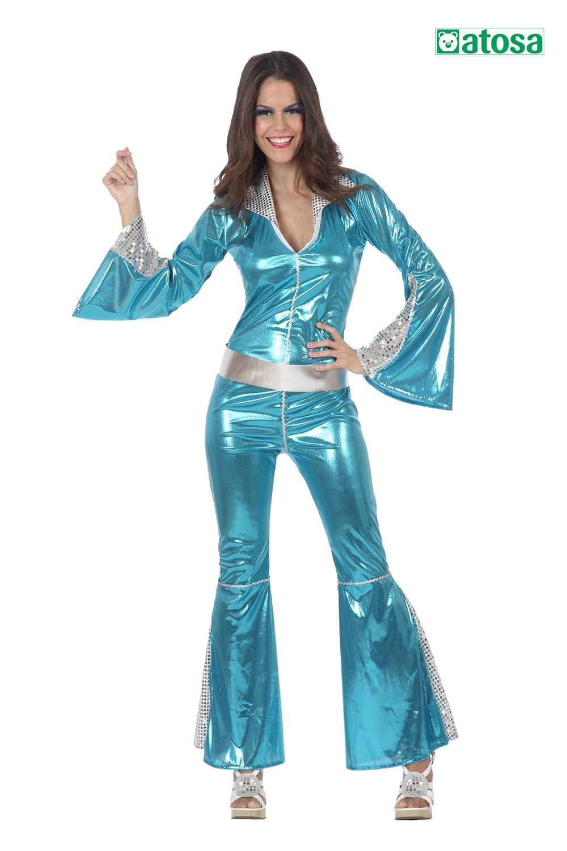 Disfraz de mujer disco azul, años 70, blue disco, 70s en