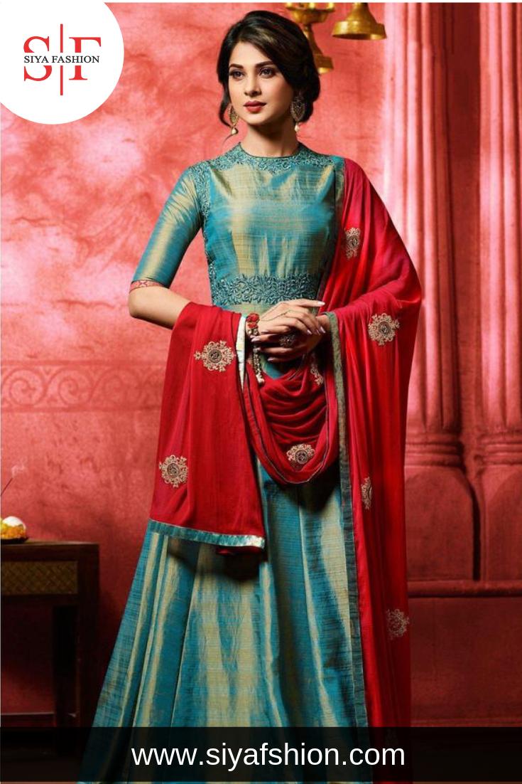 61de09422cc60 Siya #Fashion #Jennifer #Winget Teal Blue #Banarasi #Silk #Anarkali ...