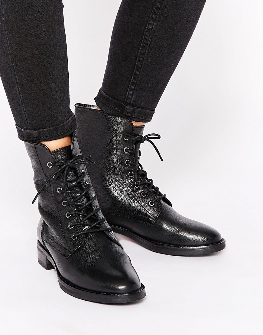 ASOS AERODROME Leather Lace Up Ankle Boots | SHOES | Pinterest