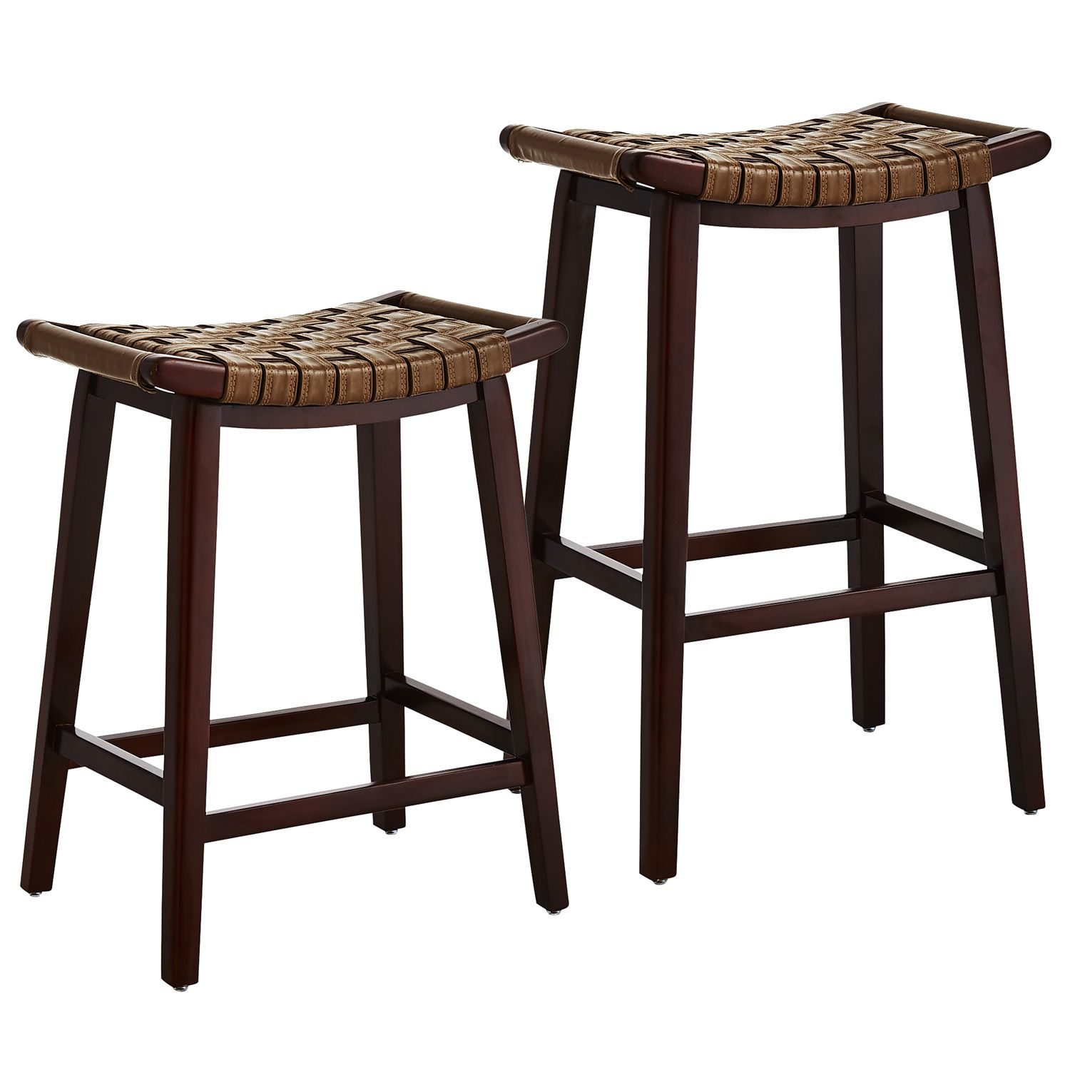 Brown Keating Backless Bar Counter Stools Woodland Faux Leather