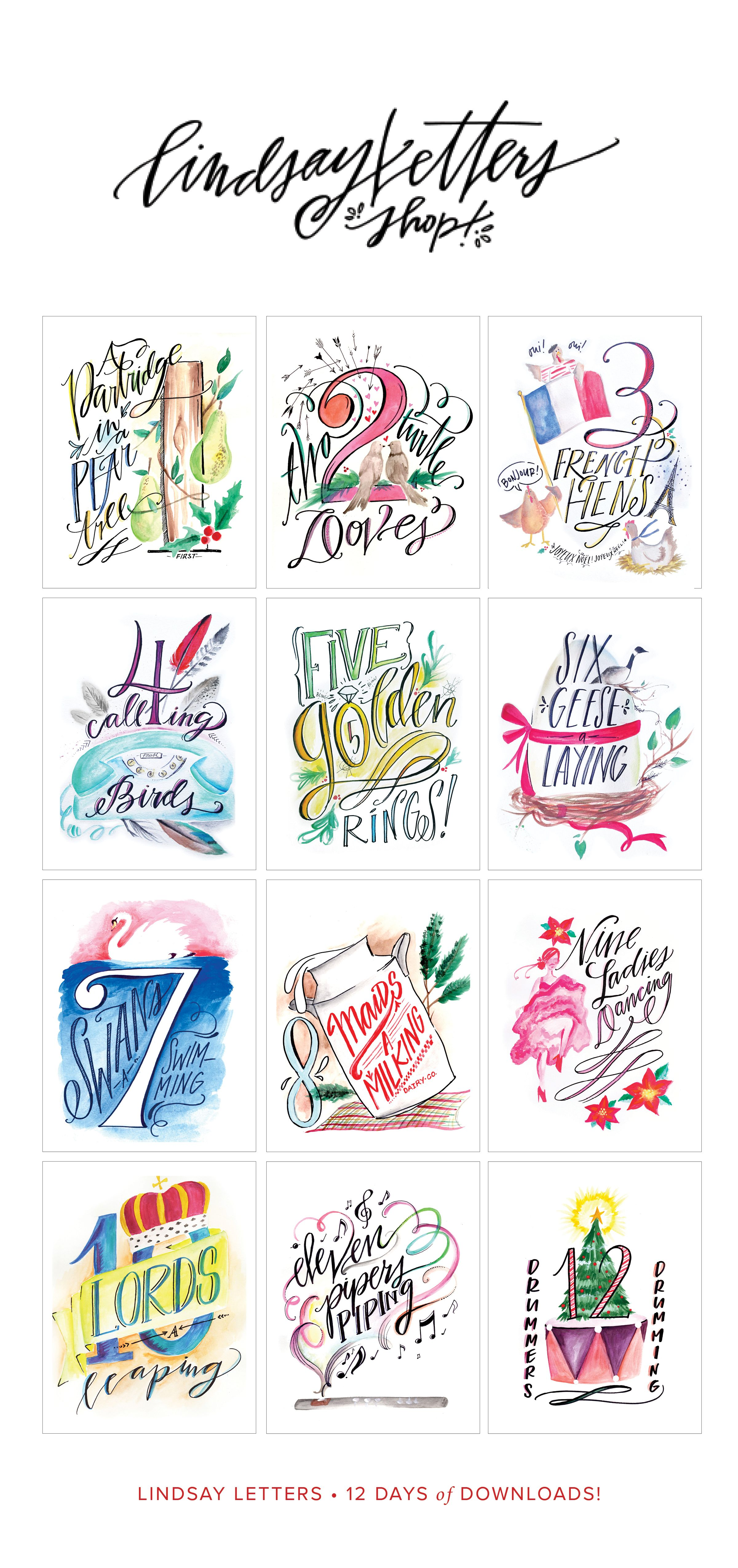 photograph about 12 Days of Christmas Images Printable titled Lindsay Letters 12 Times of Xmas Printables! retail store