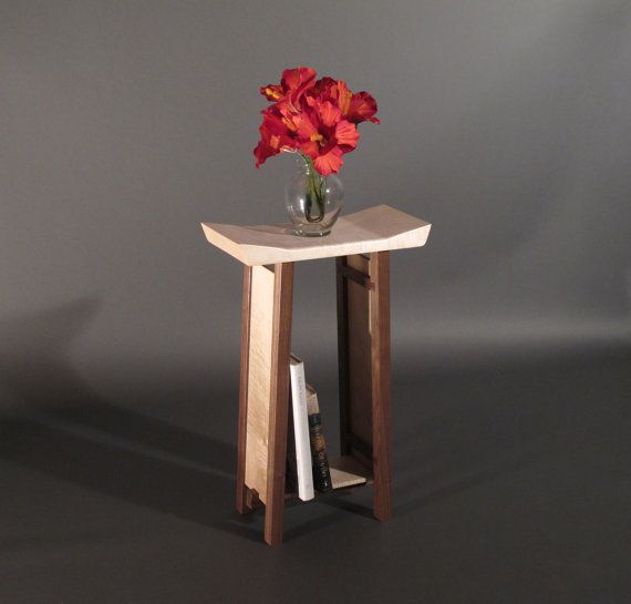 modern zen narrow nightstand in walnut tiger por