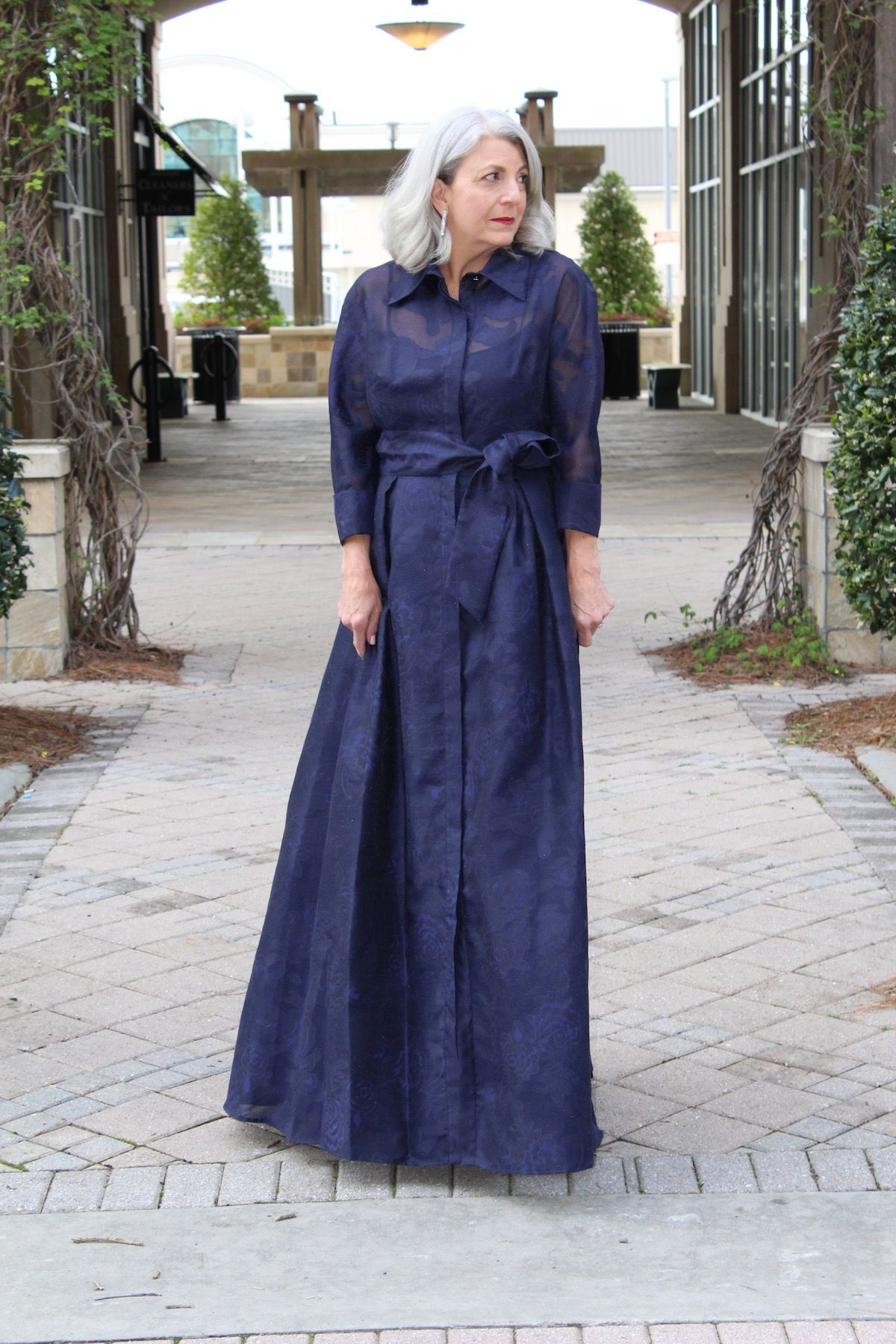 301dde22d2 ¾ Sleeve Jacquard Organza Shirtdress Gown with Floral Print