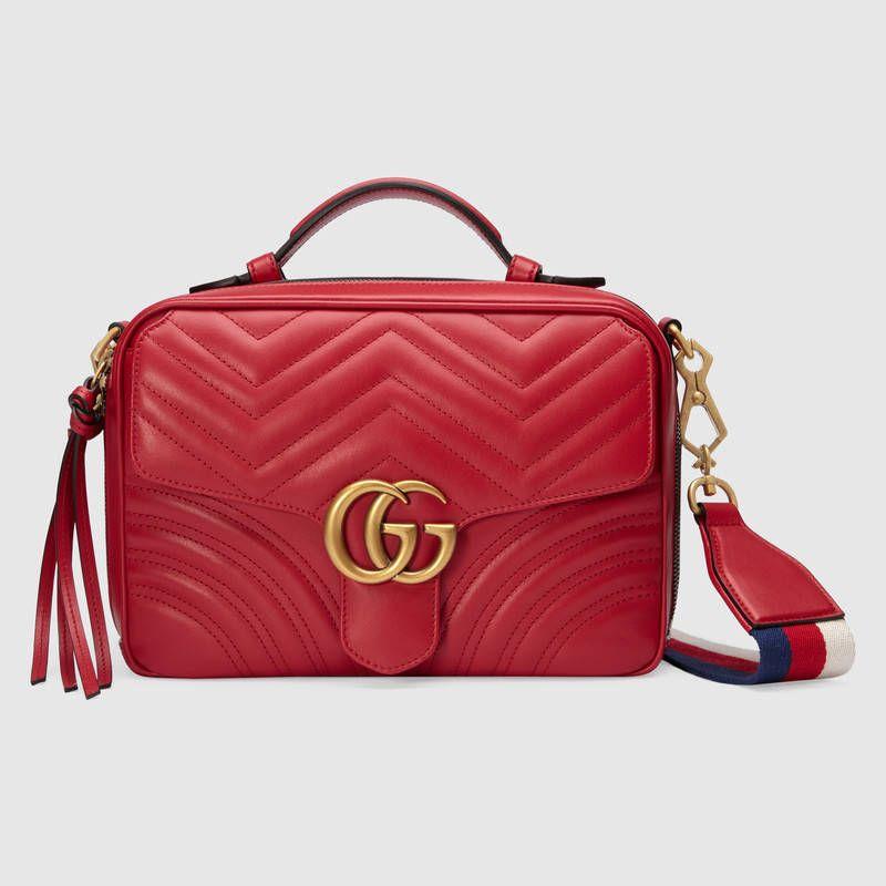 1e831134b3 Gucci Hibiscus Red Matelassé GG Marmont Small Shoulder Bag