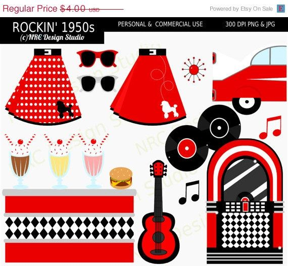 40% OFF SALE Retro Clip Art - Rockin' 1950's Sock Hop Party Clip ...
