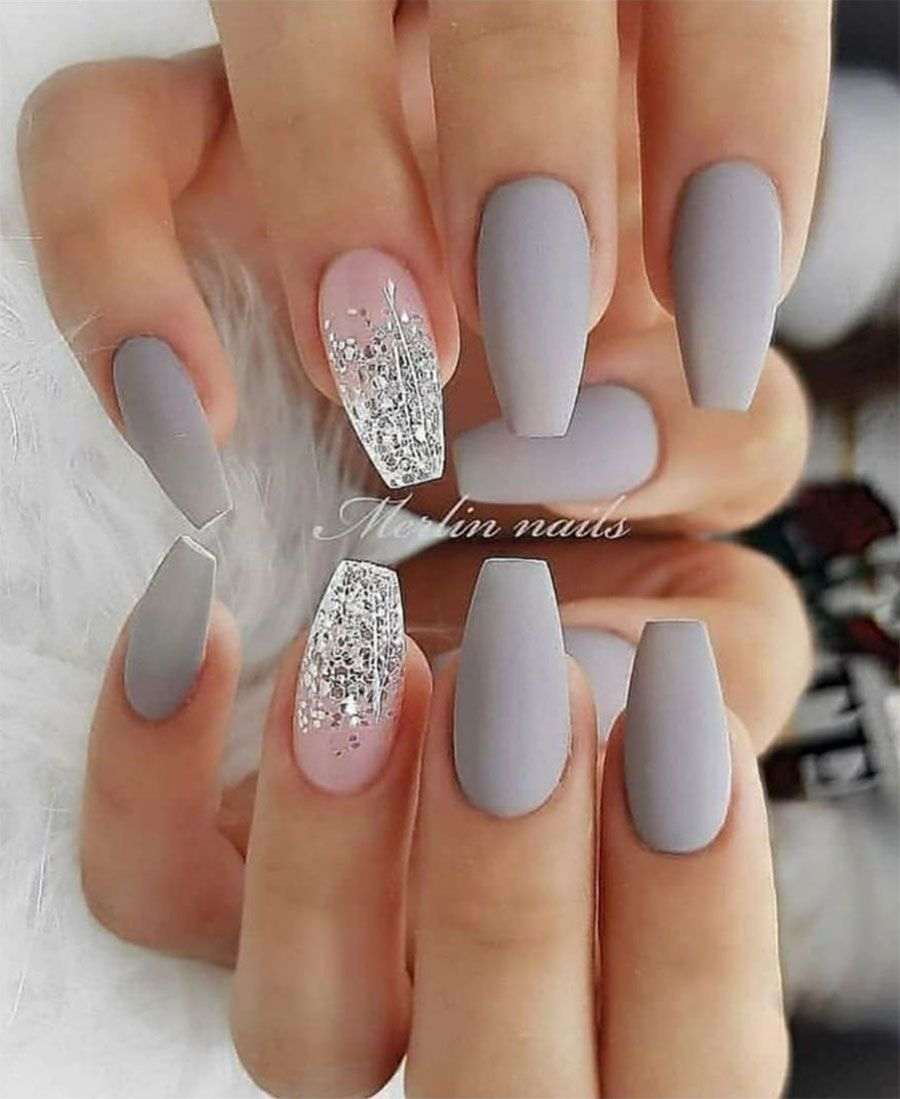 The Best Gray Nail Art Design Ideas Stylish Belles Matte Nails Design Short Acrylic Nails Coffin Nails Designs