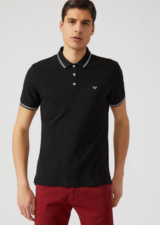 0ca645d672 Emporio Armani Cotton Piqué Polo Shirt With Contrast Logo Detail On ...