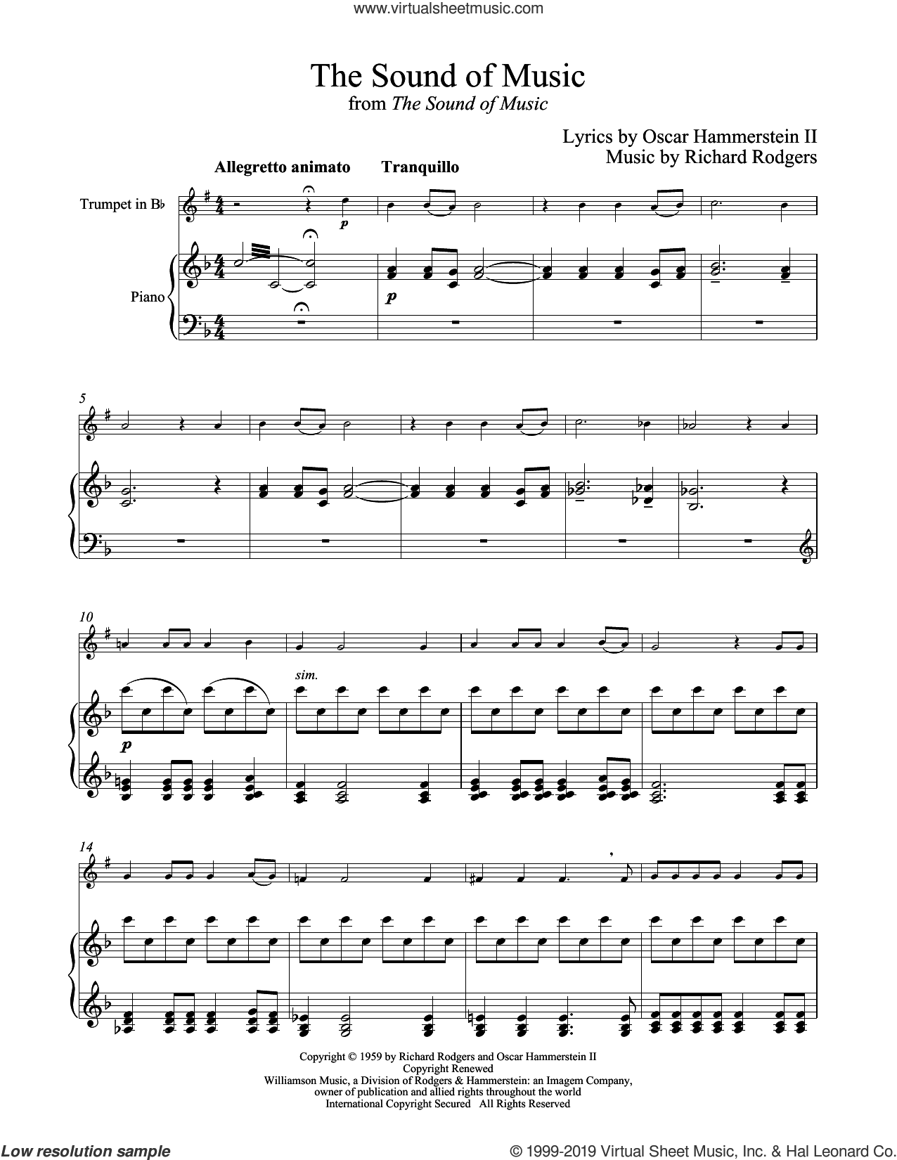 Hammerstein - The Sound Of Music sheet music for trumpet and