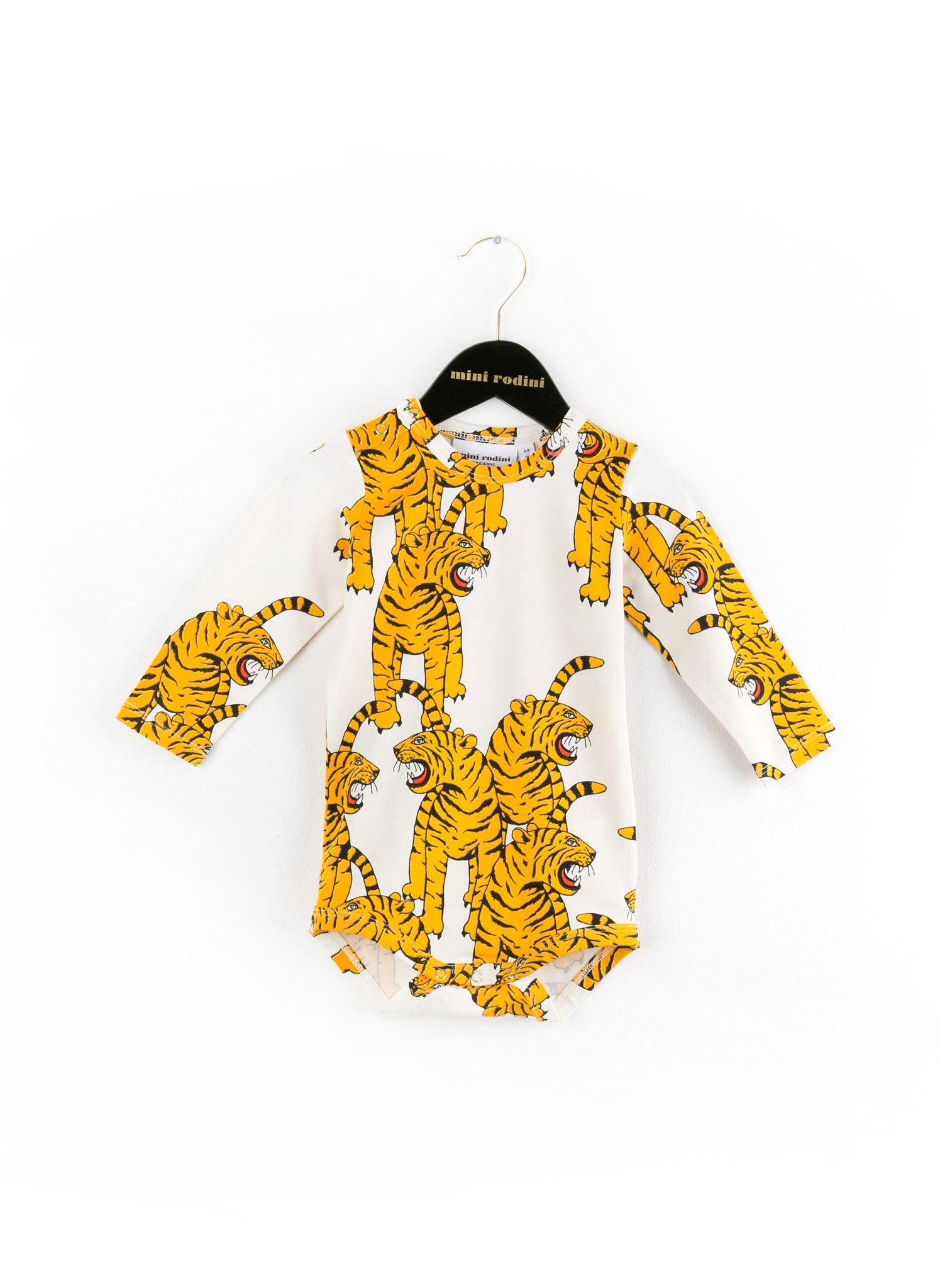 b1b7bbc92 Mini Rodini Bengal Tiger LS Body Onesie in White - 1574013410- PRE-ORDER