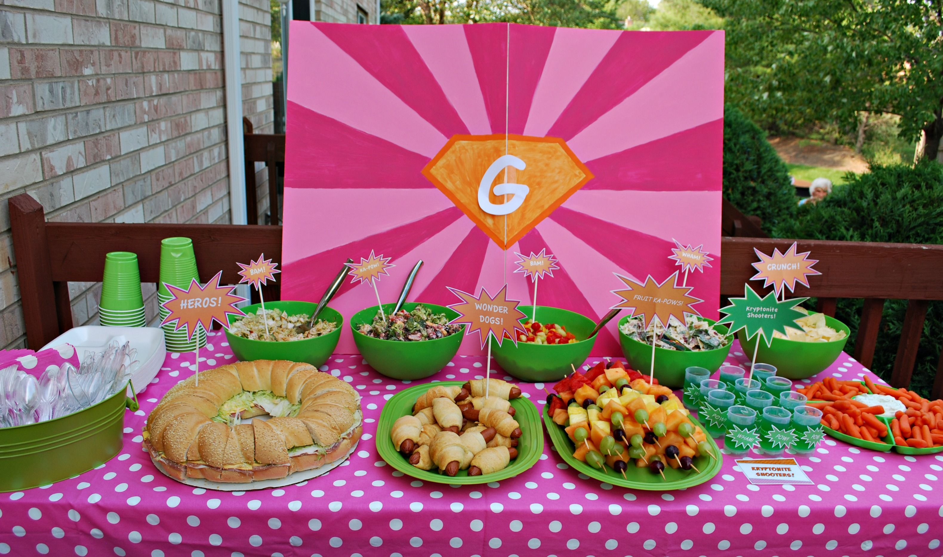 Birthday table decorations for girls - Food Table Hero Sandwiches Fruit Ka Pow Kabobs And Wonder Dogs Guest Party Girl S Superhero Birthday Party