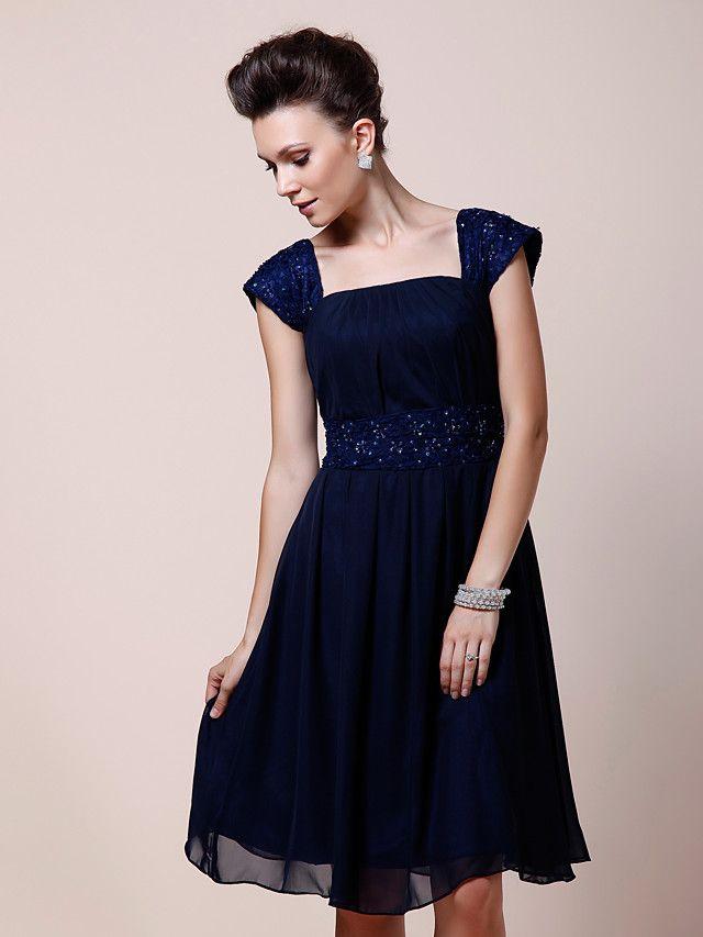 43806b9c9c0f A-line Plus Sizes / Petite Mother of the Bride Dress - Dark Navy Knee-length  Short Sleeve Chiffon - USD $ 89.99