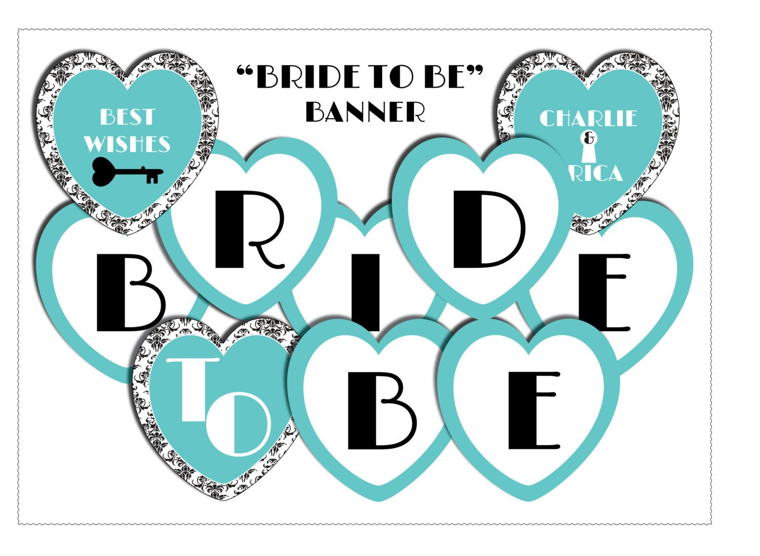 INSTANT DOWNLOAD Templett #23 Navy blue and blush gold Printable With Bridal Shower Banner Template