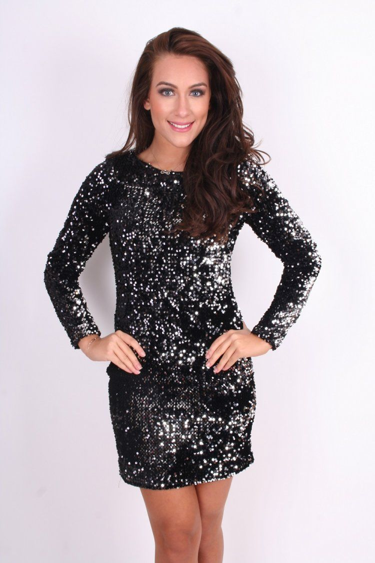 Holly Black Silver sequin long sleeved mini dress - Clothing ...