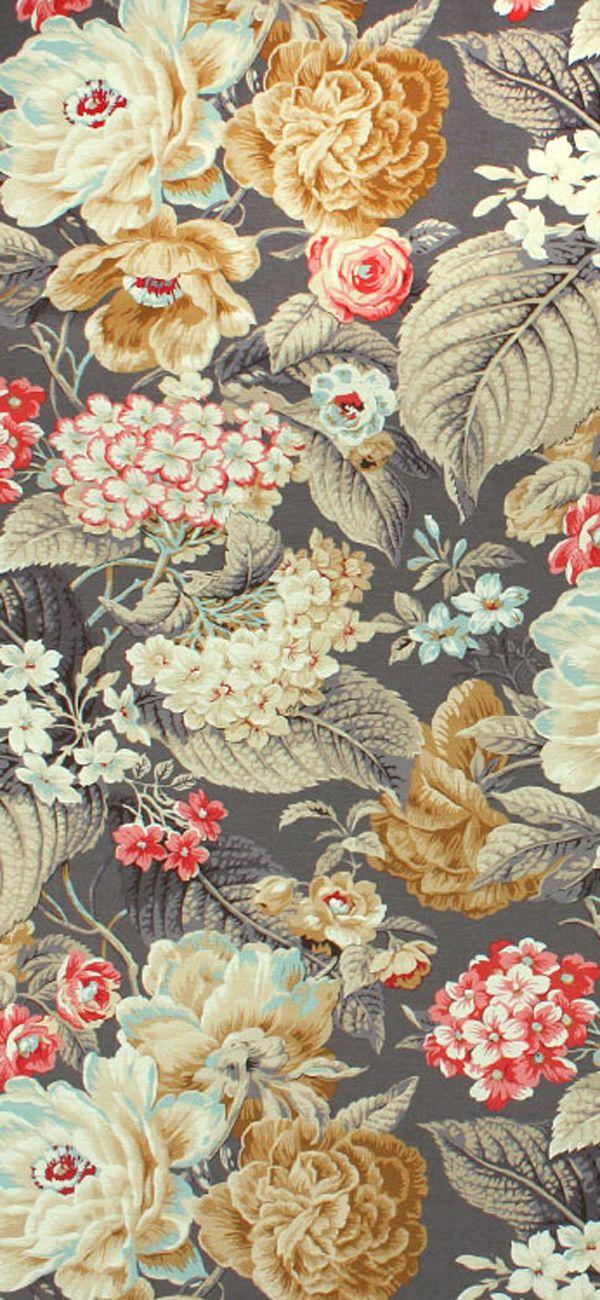Waverly Fl Flourish Clay Fabric Gray Pink