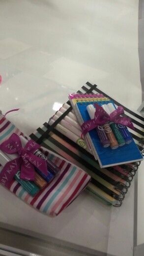 Great gift idea! Mary Kay @ Play Liquid eye liners with a notepad or lip/eye pencils with a notebook.  www.marykay.com/abrown9