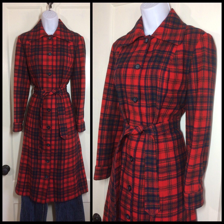 Vintage Red & Green Medium Pendleton Flannel Shirt 1970s ND8cJ