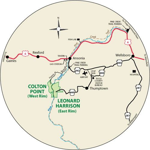 This Circular Map Shows The Roads Leading To Leonard Harrison And - Grand canyon pa map