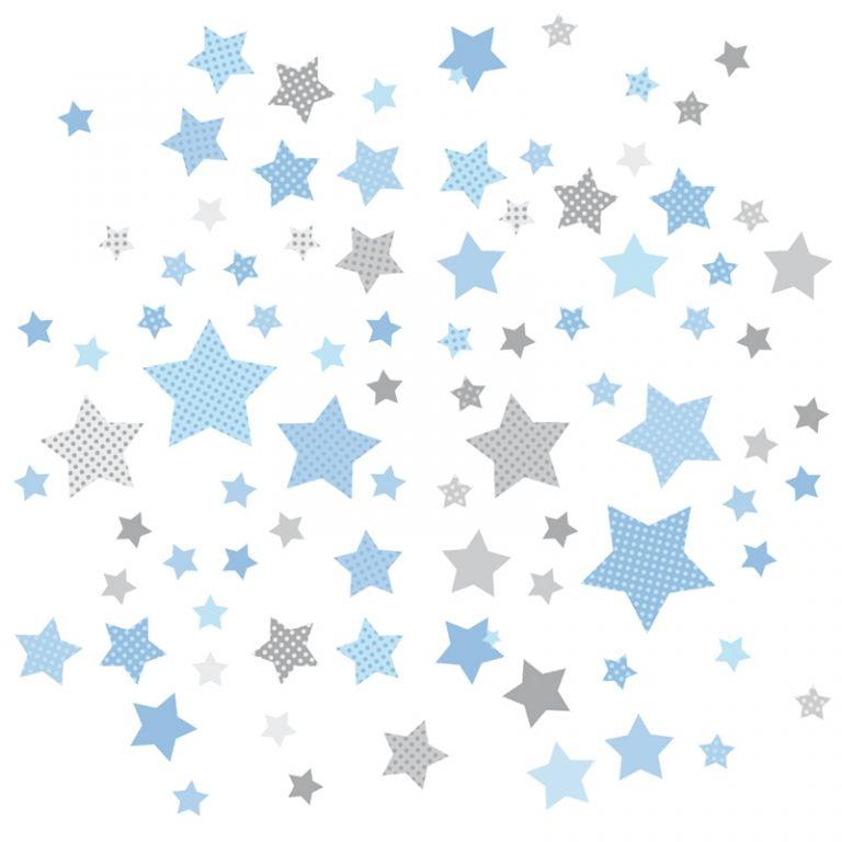 Kinderzimmer Wandsticker Sterne blau\/grau 68-teilig Babies - babyzimmer sterne photo
