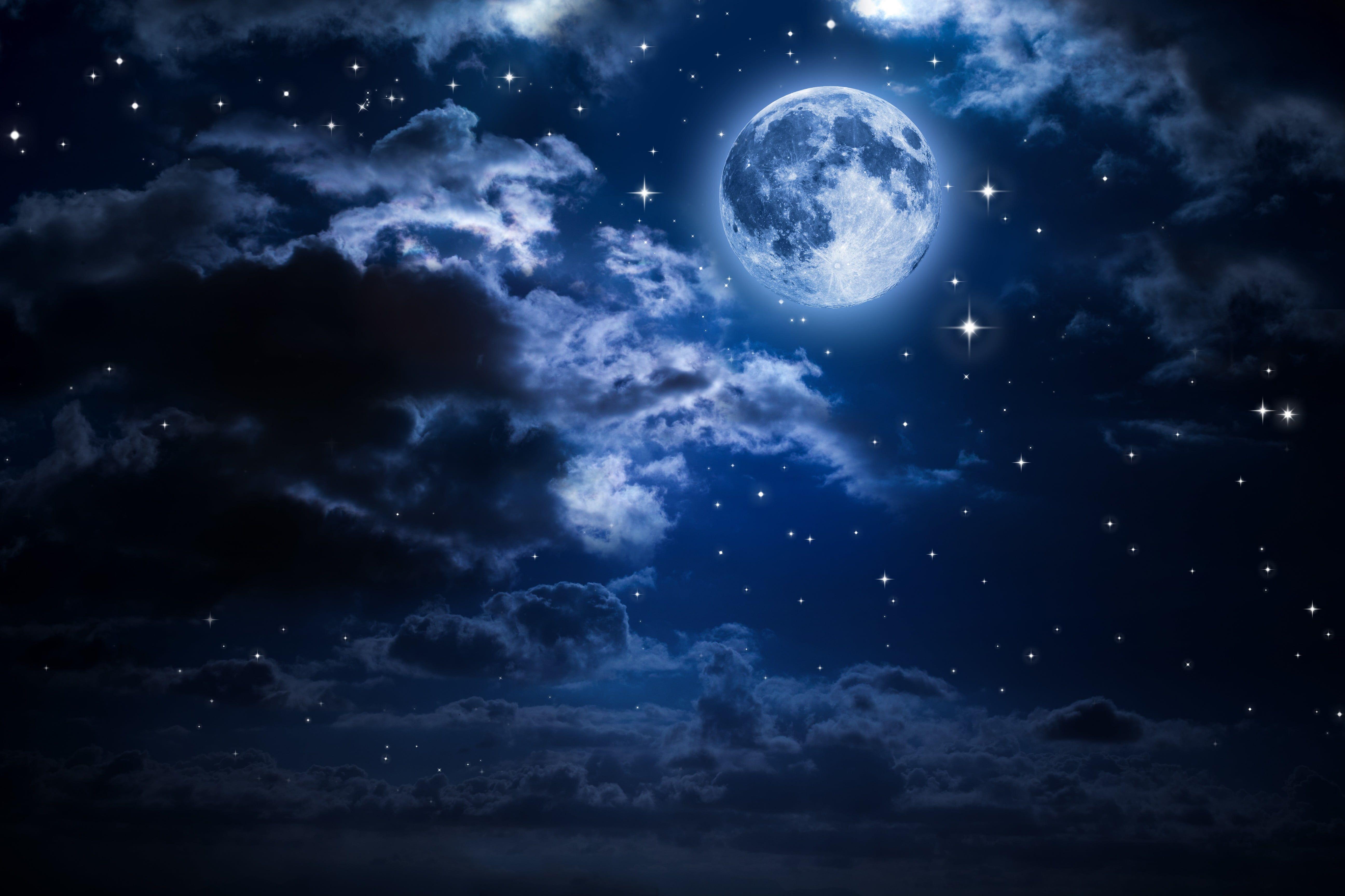 Full Moon Wallpaper Moon Night Clouds Sky 5k Wallpaper