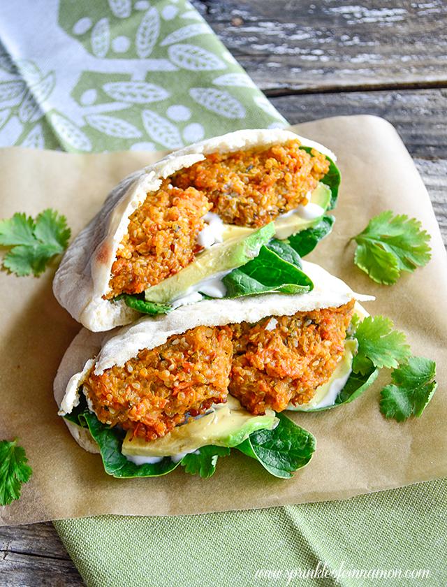 Sweet potato quinoa patties with tahini yogurt dressing