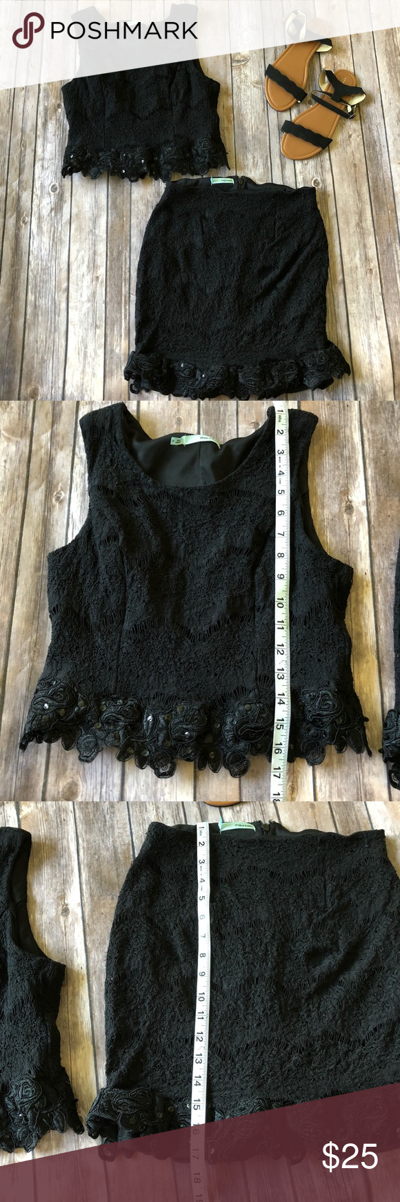 Maurices piece black lace skirt u tanks size my posh closet