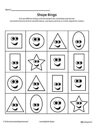 Geometric Shape Bingo Printable Card Square Circle Triangle Rectangle Oval Star Bingo Cards Printable Bingo Printable Geometric Shapes Star shape preschool worksheets