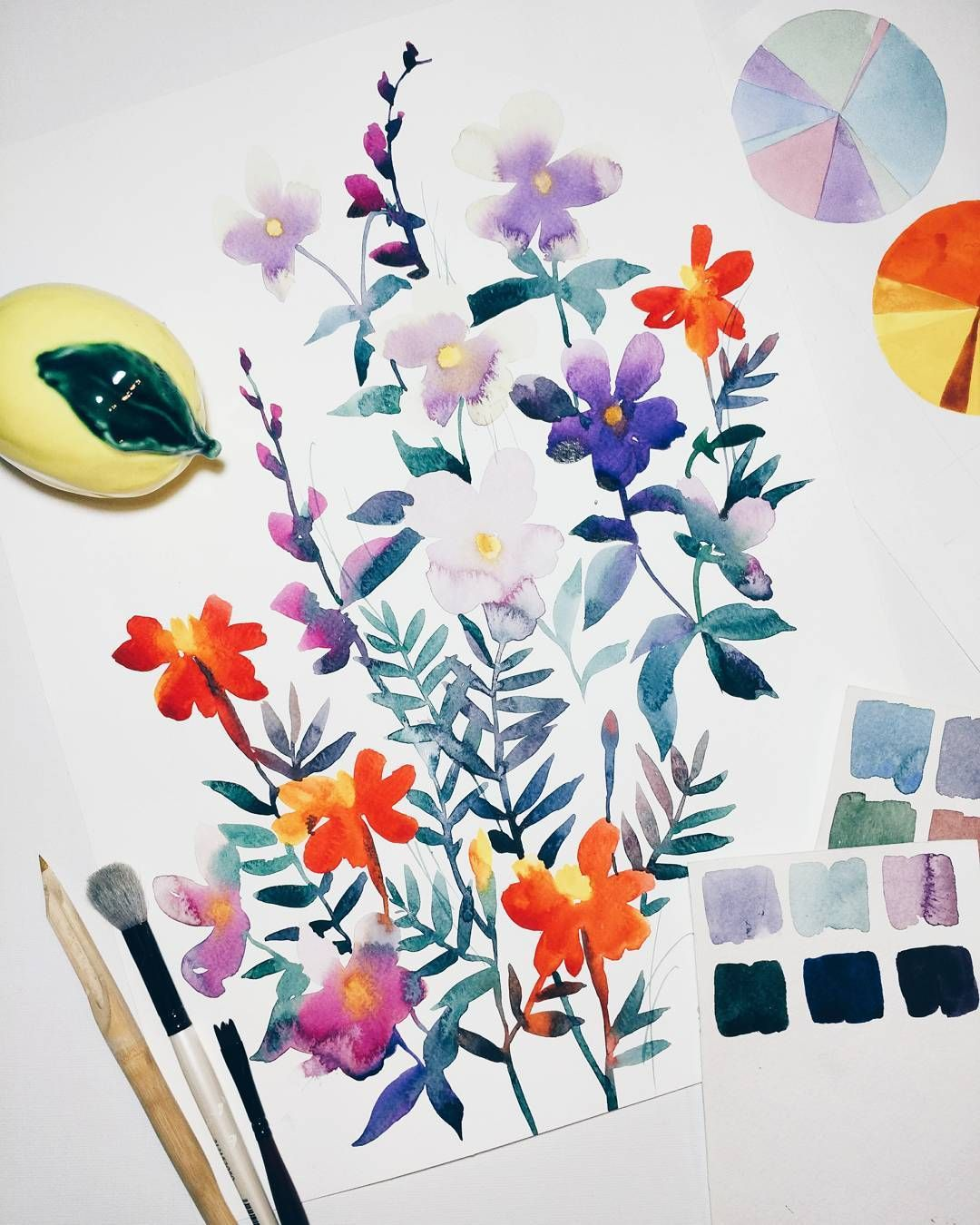 Watercolor Illustrator Gala Kamenskaya Galakamenskaya Flowers