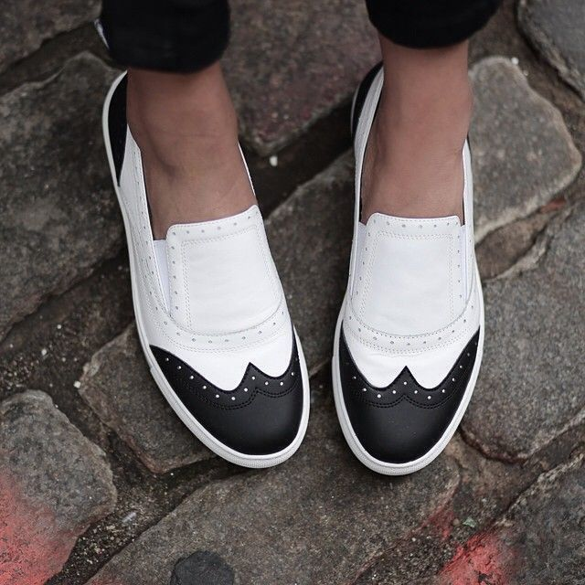 Style tip: add a bold pop to your look with our cool black and white Kline  slip-on sneakers. (refurbish your own shoes with paint)