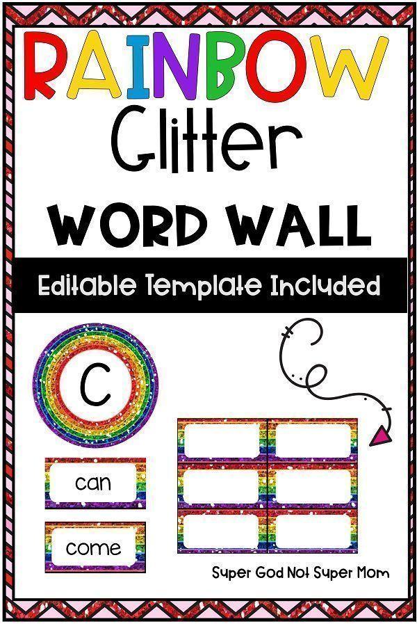 Rainbow Glitter Word Wall #elementaryclassroomdecor