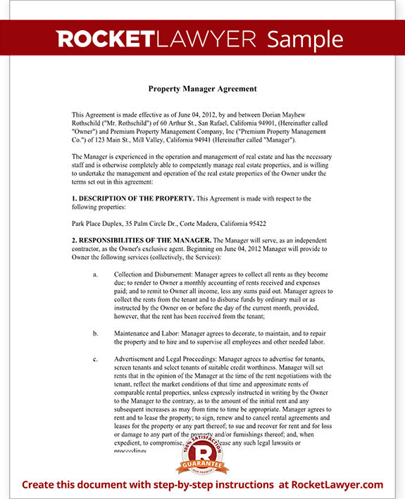 Superior Property Management Agreement Form   Free Template With Sample