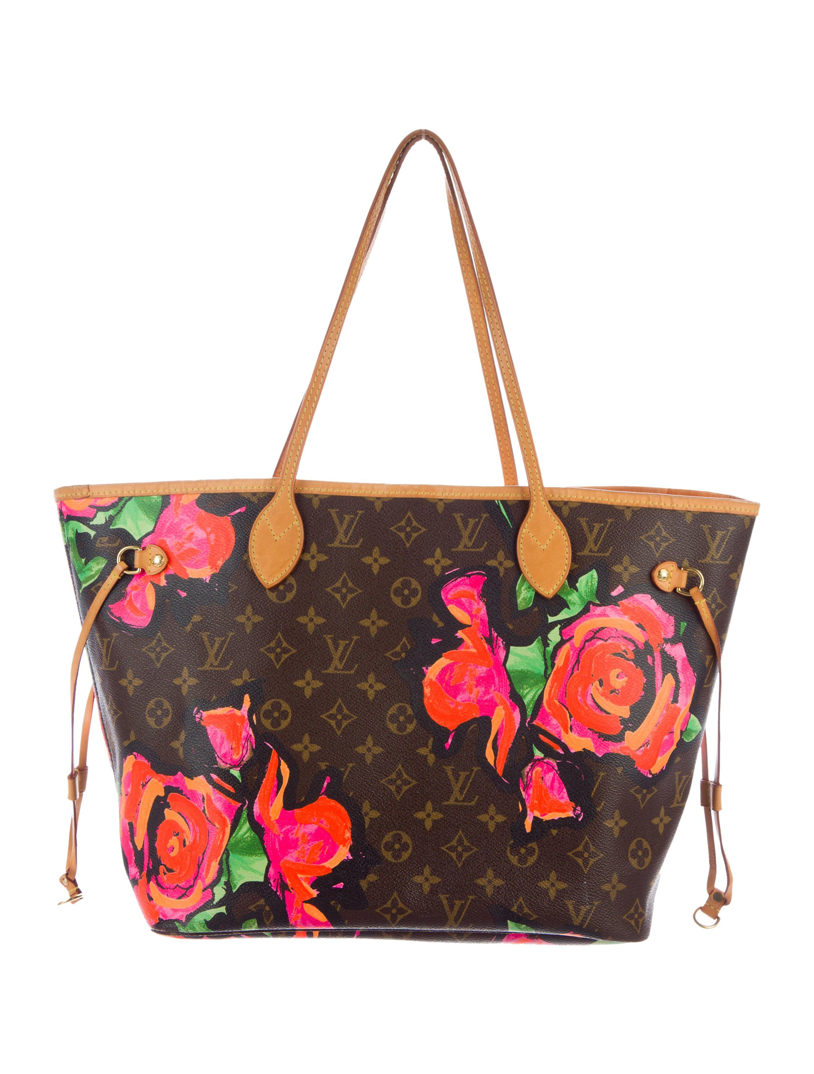 b7692740fce0 From the Stephen Sprouse Collection. Brown and tan monogram coated canvas Louis  Vuitton Roses Neverfull MM with brass hardware
