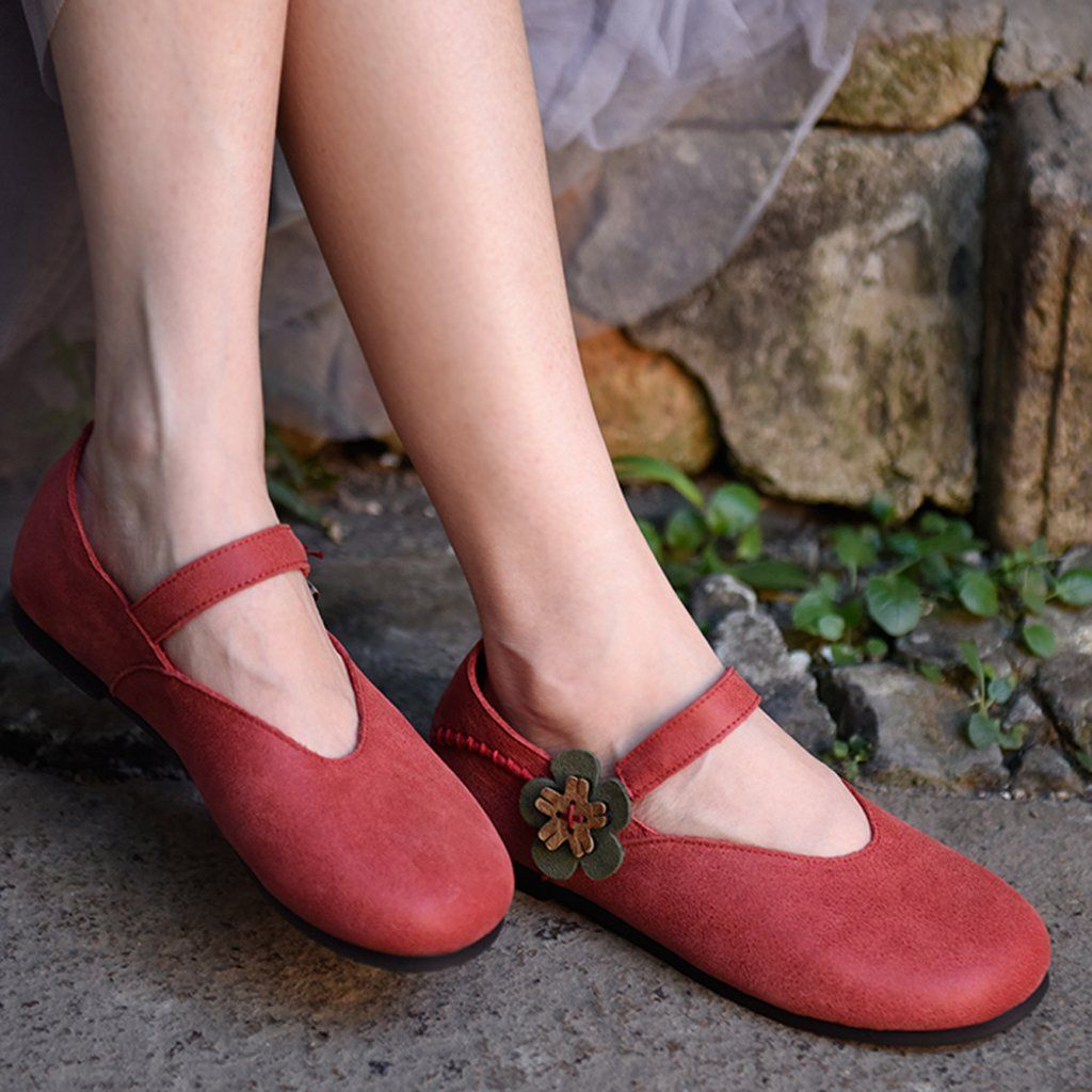 Handmade Leather Slip On Floral Shoes | Floral shoes