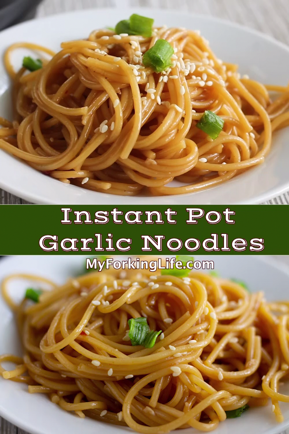 These Garlic Instant Pot Noodles are made with Asian flavors and all made in your Instant Pot. A quick and easy meal. Step by step photos and video included in the recipe post. #instantpotrecipe #pressurecookerrecipe #garlicnoodles #instantpotnoodles #asiannoodles #crockpotchickenhealthy